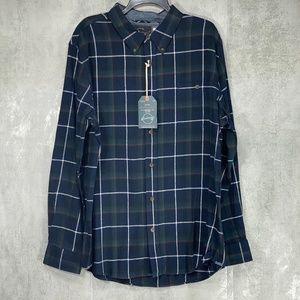 weatherproof Blue Pine Plaid Flannel Button Down L
